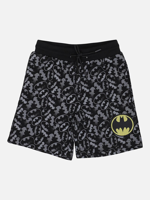 Kids Ville Boys Black   Grey Batman Print Lounge Shorts