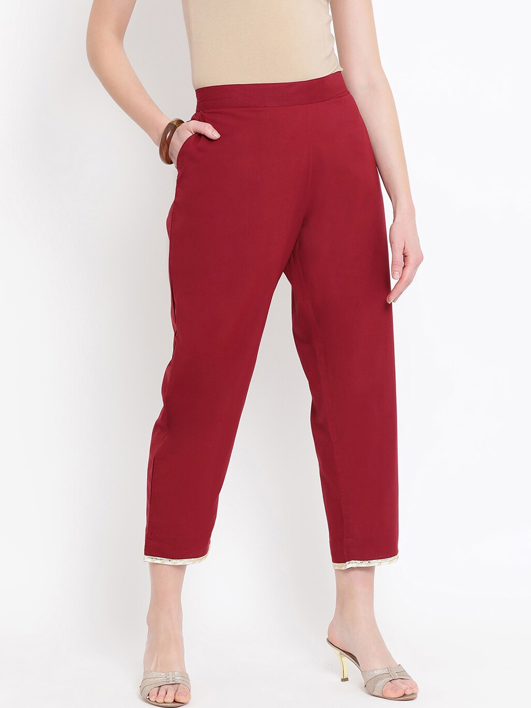 FABNEST Women Maroon   Gold Relaxed Fit Solid Regular Trousers