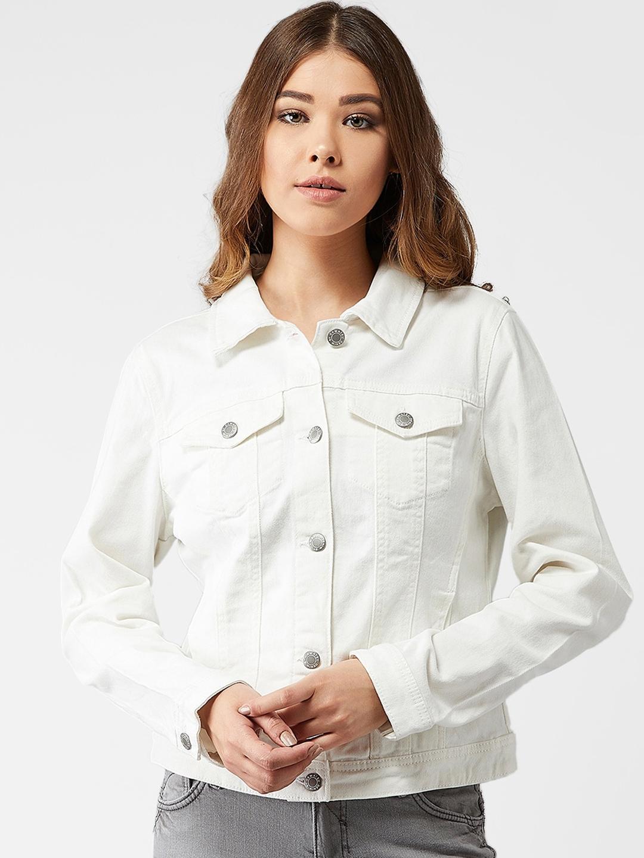 Kotty Women White Solid Denim Jacket