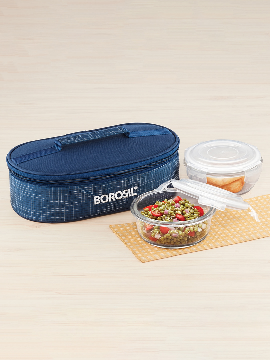 BOROSIL Set Of 2 Blue   Transparent Borosilicate Glass Round Containers Lunch Box With Bag