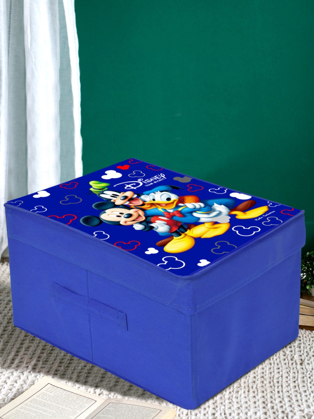 Kuber Industries Blue Disney Team Mickey Printed Foldable Saree Cover Storage Box With Lid