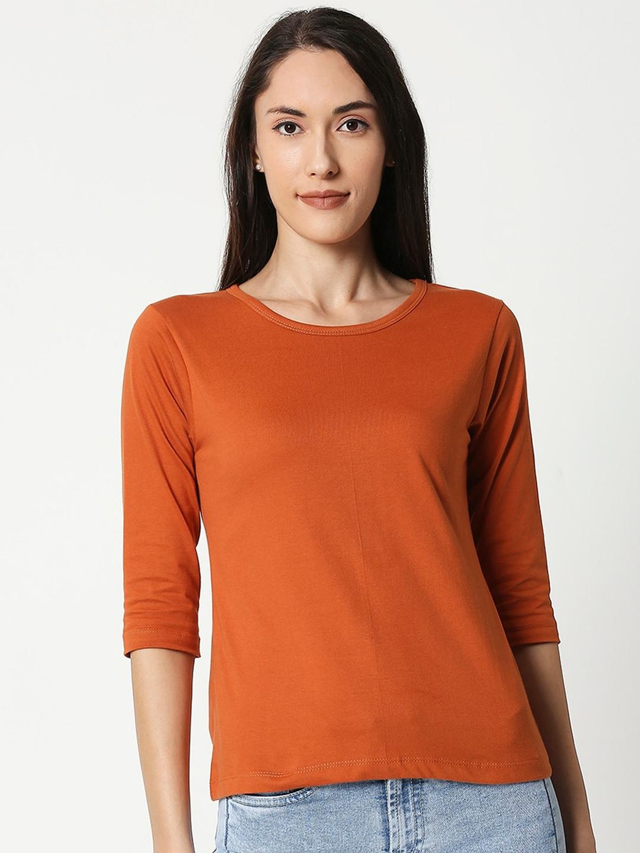 Bewakoof Women Orange Solid Boat Neck T shirt