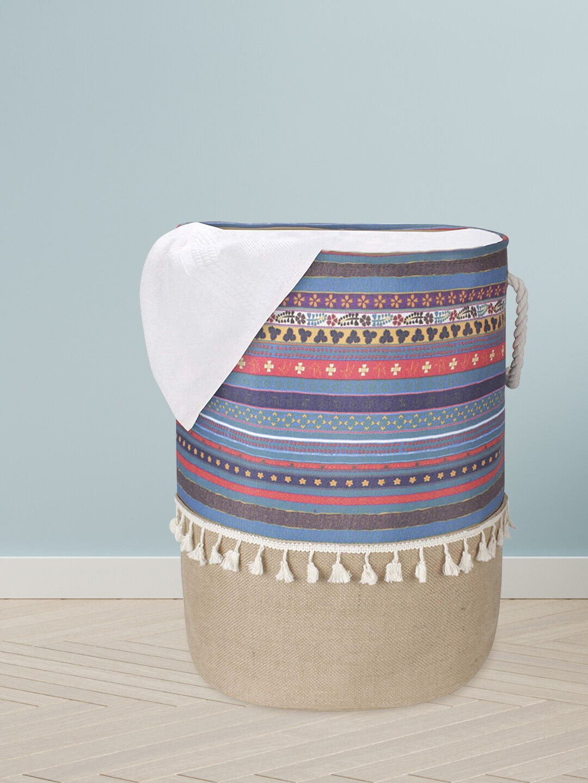 HomeStorie Beige   Blue Printed Foldable Laundry Basket
