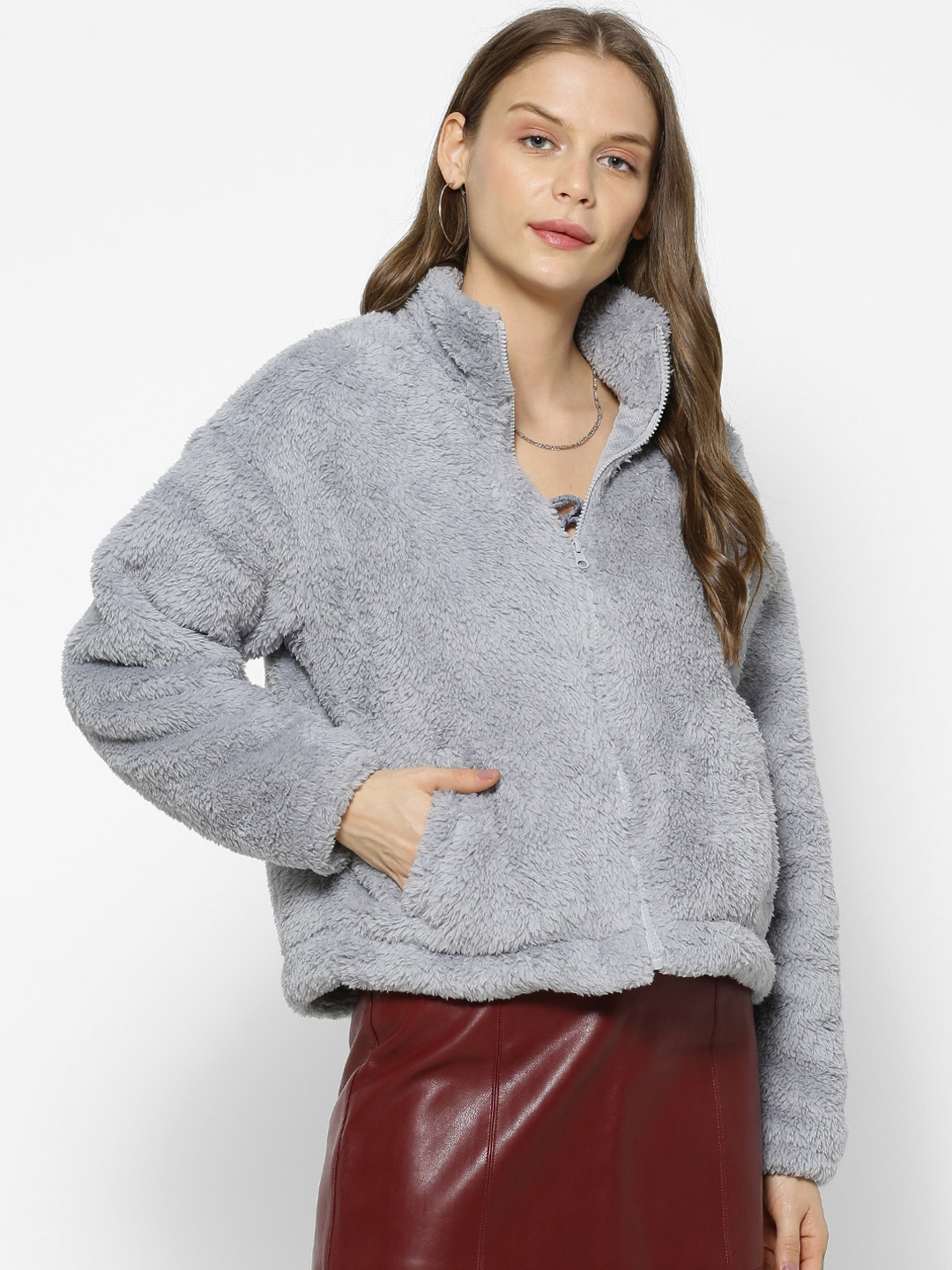 FOREVER 21 Women Grey Solid Tailored Jacket