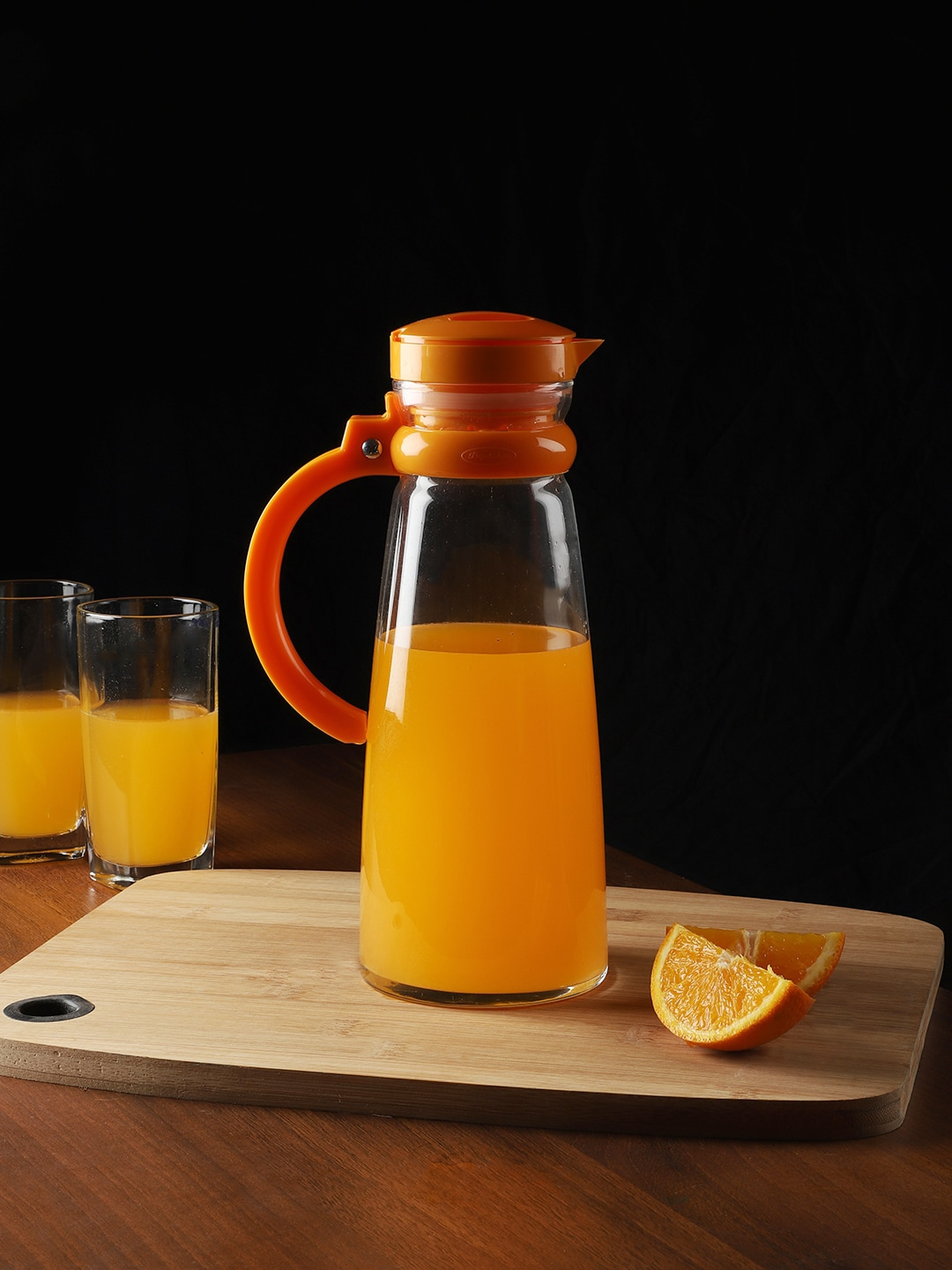 INCRIZMA Transparent   Orange Glass Water Jug with Handle