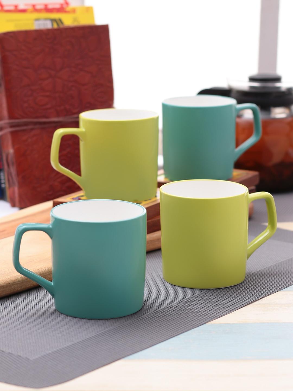 CLAY CRAFT Green 4Pcs Ceramic Mugs Set
