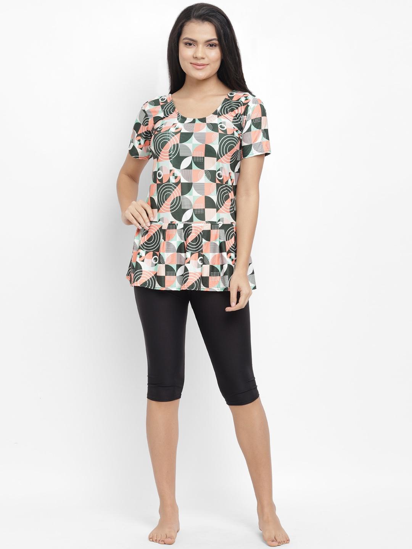 N Gal Women Black   Peach Coloured Geometric Printed Knee Length One Piece Swimsuit NBPS18