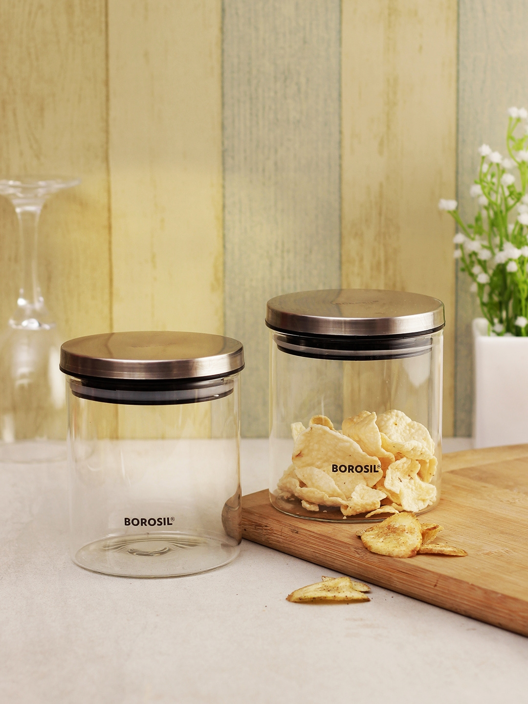 BOROSIL Set Of 2 Transparent   Silver Toned Borosilicate Glass Storage Containers With Lids