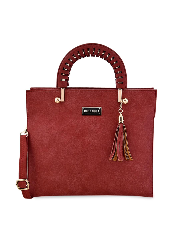 Bellissa Maroon Solid Multi Compartment Spacious Handheld Bag