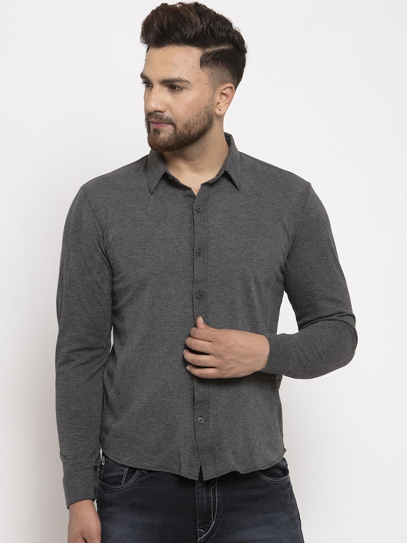 WILD WEST Men Grey Regular Fit Solid Casual Shirt
