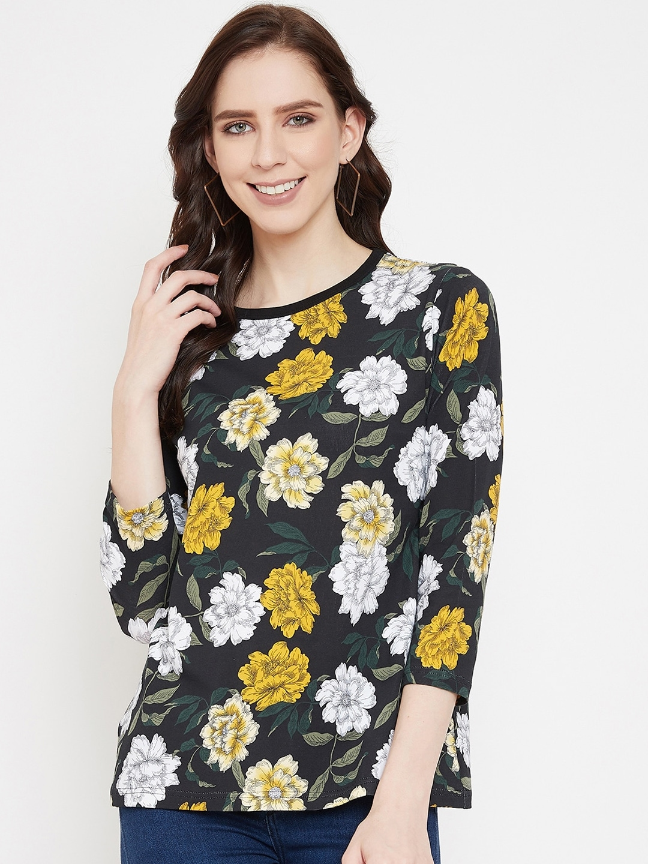 Hypernation Women Black   Yellow Floral Printed Round Neck T shirt
