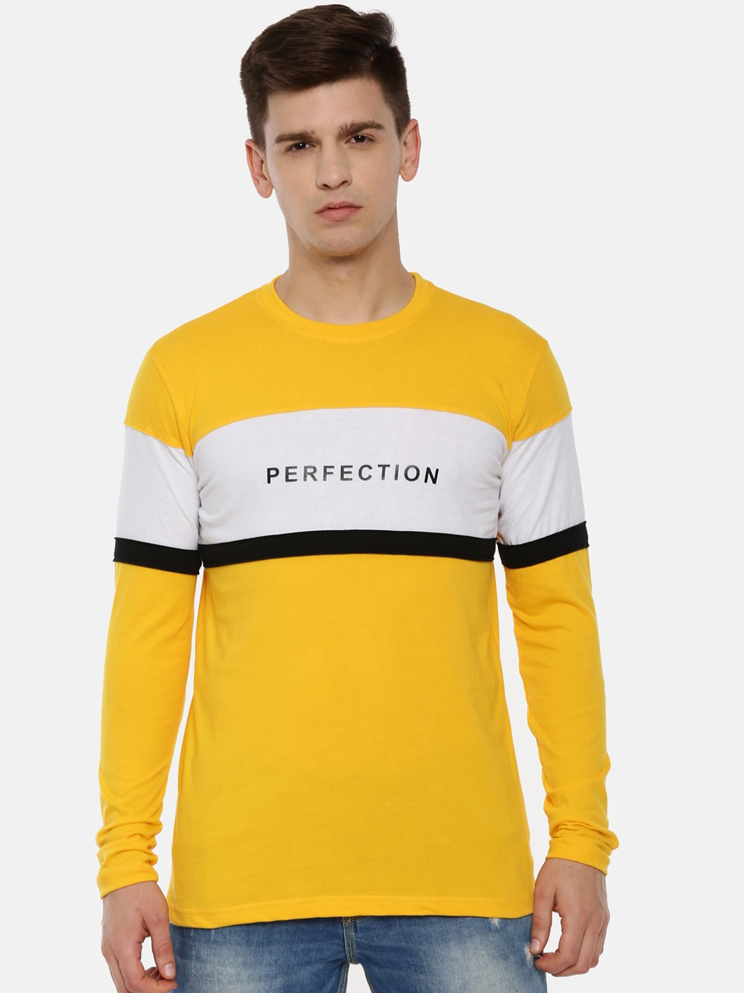 KAY DEE Men Yellow Colourblocked Round Neck T shirt