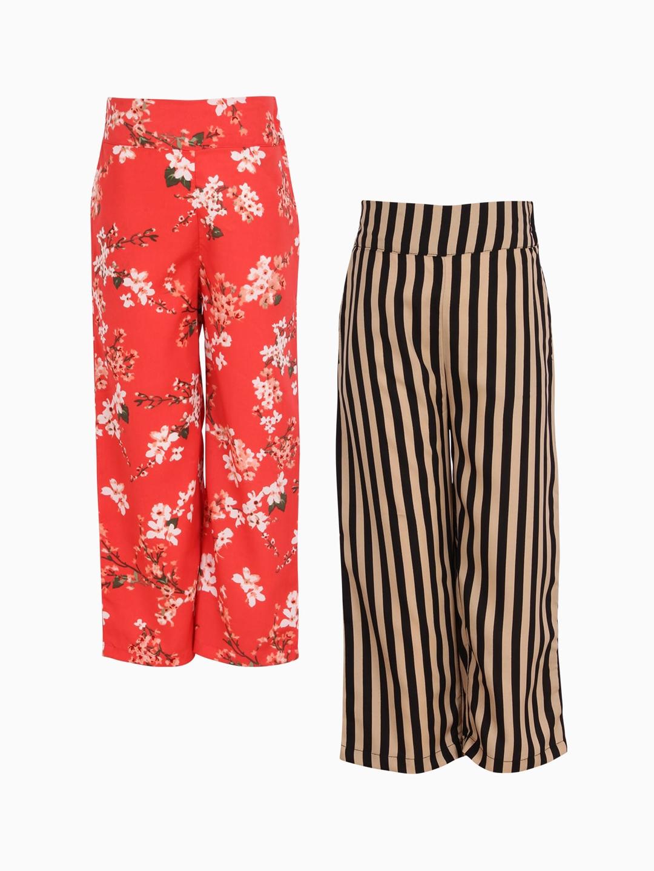 CUTECUMBER Girls Pack of 2 Smart Regular Fit Printed Culottes