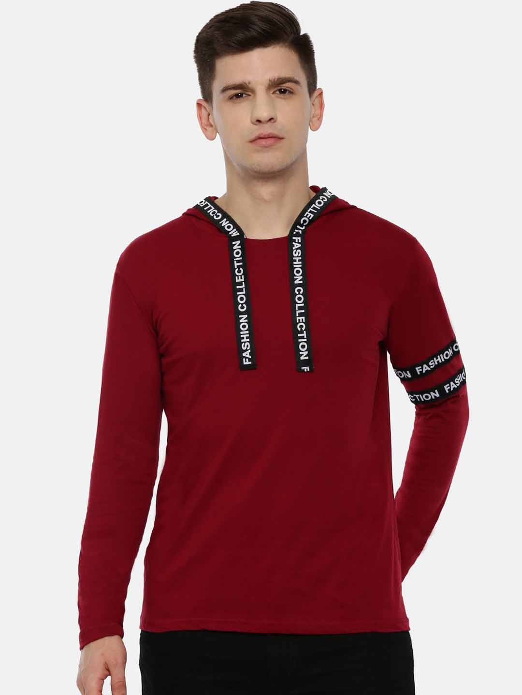 KAY DEE Men Maroon Solid Slim Fit Hooded T shirt