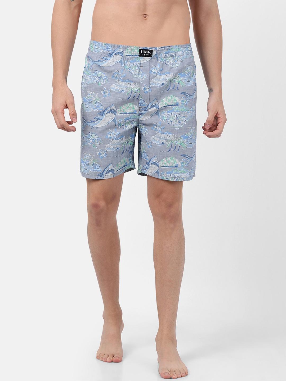 Llak Jeans Men Grey   Blue Printed Boxers BOXER BP