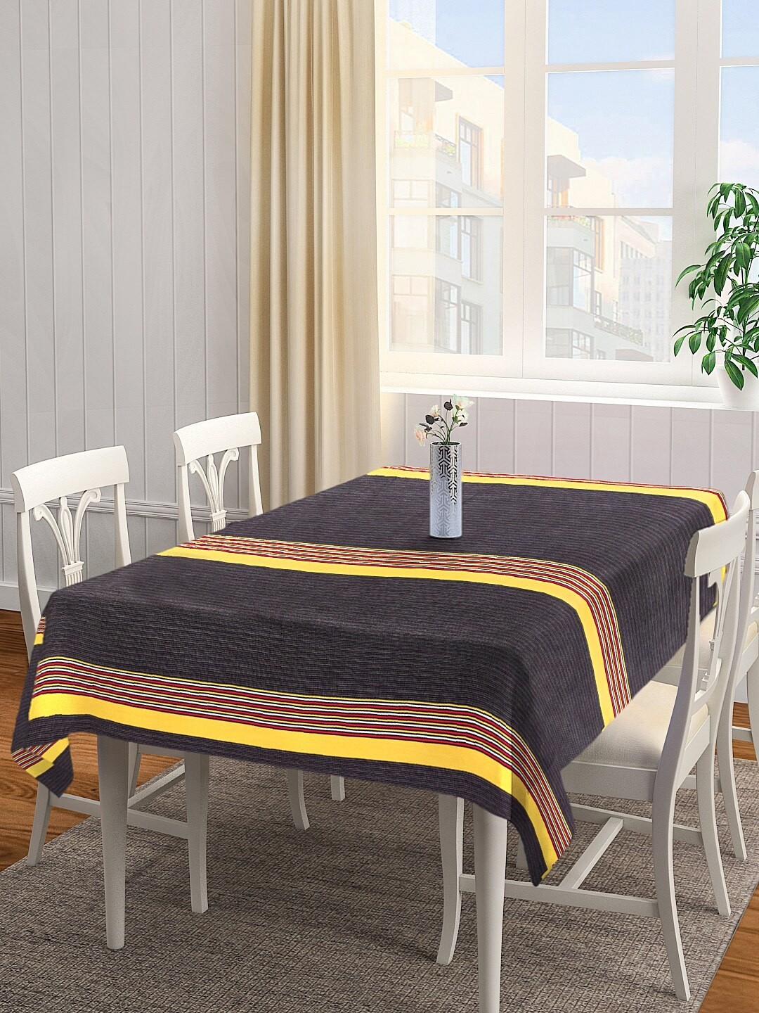 NEUDIS by Dhrohar Black   Red Striped 4 Seater Rectangle Table Cover