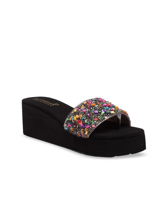 Butterflies Women Black   Pink Embellished Wedge Heels