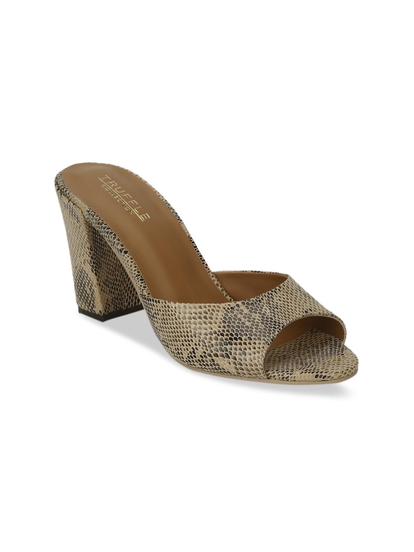 Truffle Collection Women Beige   Black Animal Print Block Heels