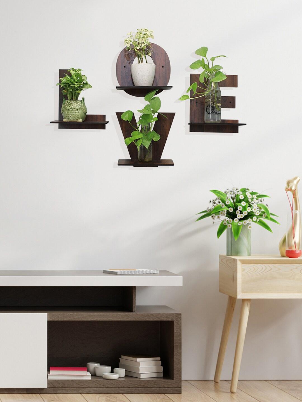 RANDOM Coffee Brown L O V E Set of 4 MDF Basic Wall Shelf