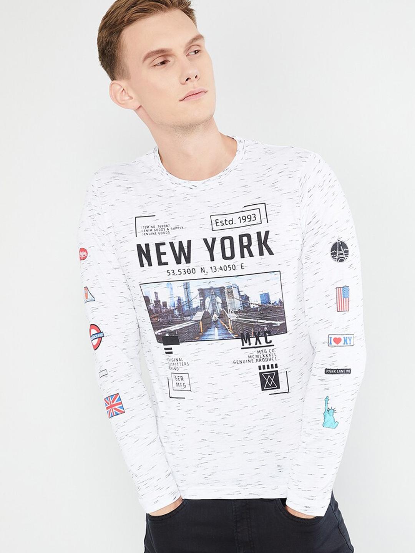 max Men White   Blue Graphic Print Round Neck T shirt