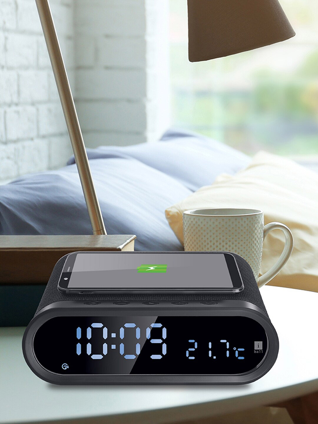 iBall Black Musi Home Pro Portable Digital Clock Bluetooth Speaker with Wireless Charging