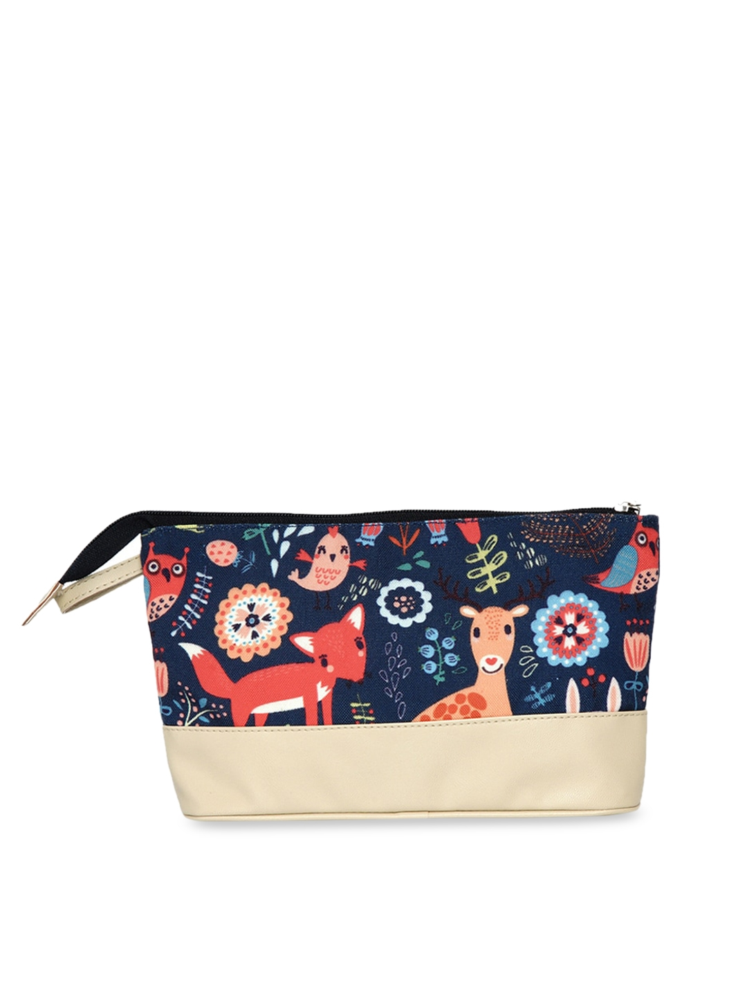Anekaant Women Navy Blue   Beige Printed Modish Quirky Cosmetic Pouch
