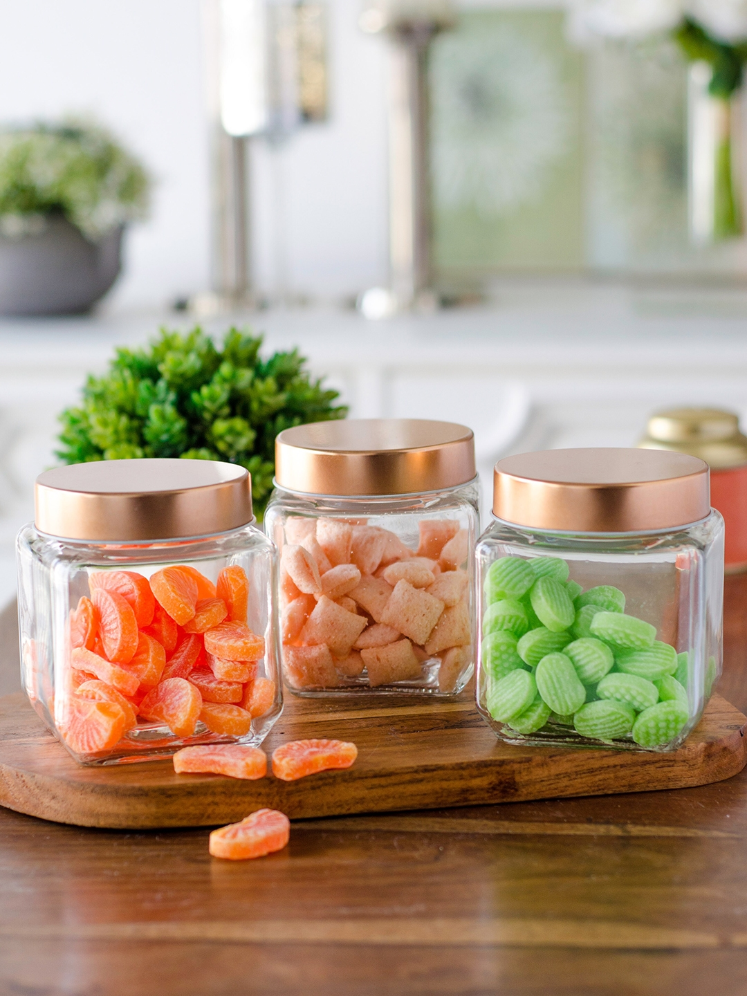 GOODHOMES Set Of 3 Transparent Cube Glass Jars With Copper Lid
