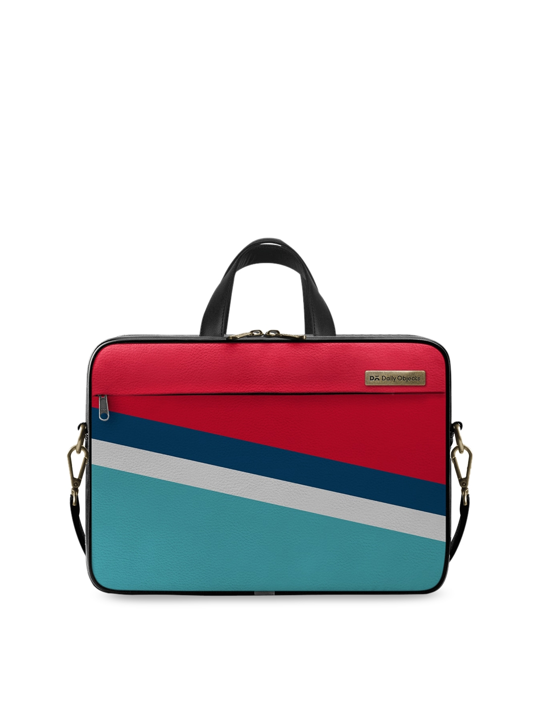 DailyObjects Unisex Red   Blue Colourblocked 14 Inch Laptop Bag