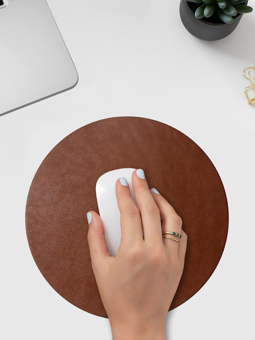 DailyObjects Brown Orb Vegan Leather Reversible Design Mouse Pad