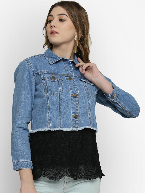 Kotty Women Blue Solid Denim Crop Jacket