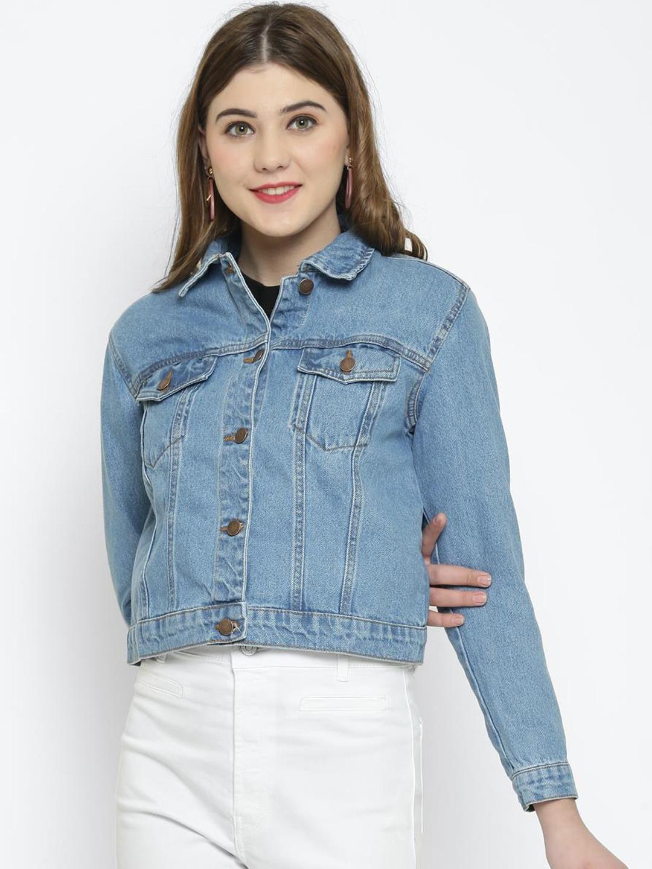 Kotty Women Blue Solid Denim Jacket