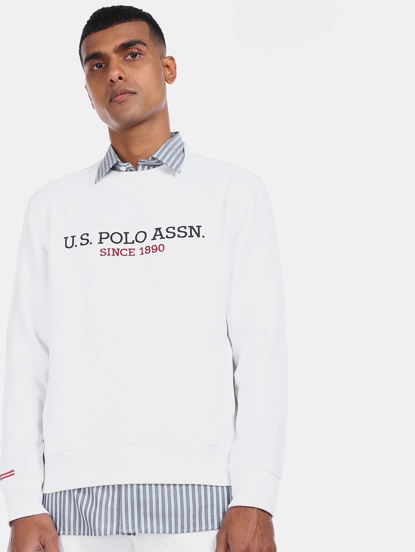 U.S. Polo Assn. Men White Printed Sweatshirt