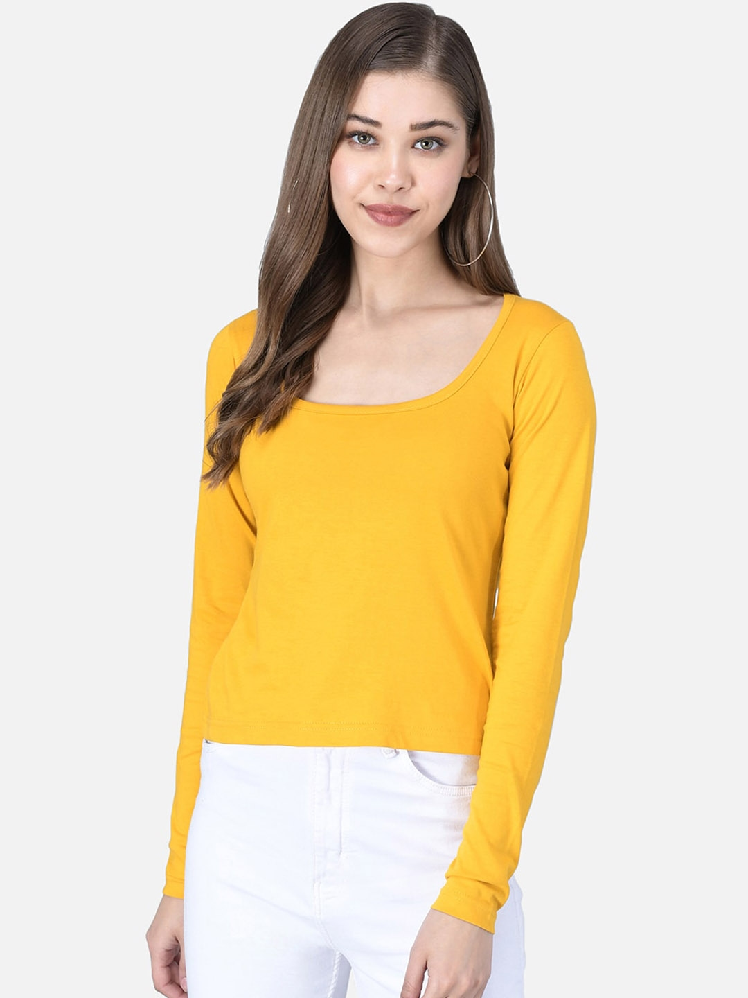 The Dry State Women Yellow Solid Scoop Neck T shirt