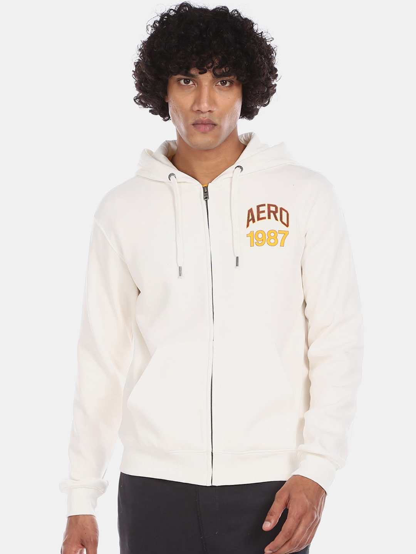 Aeropostale Men White Solid Sweatshirt