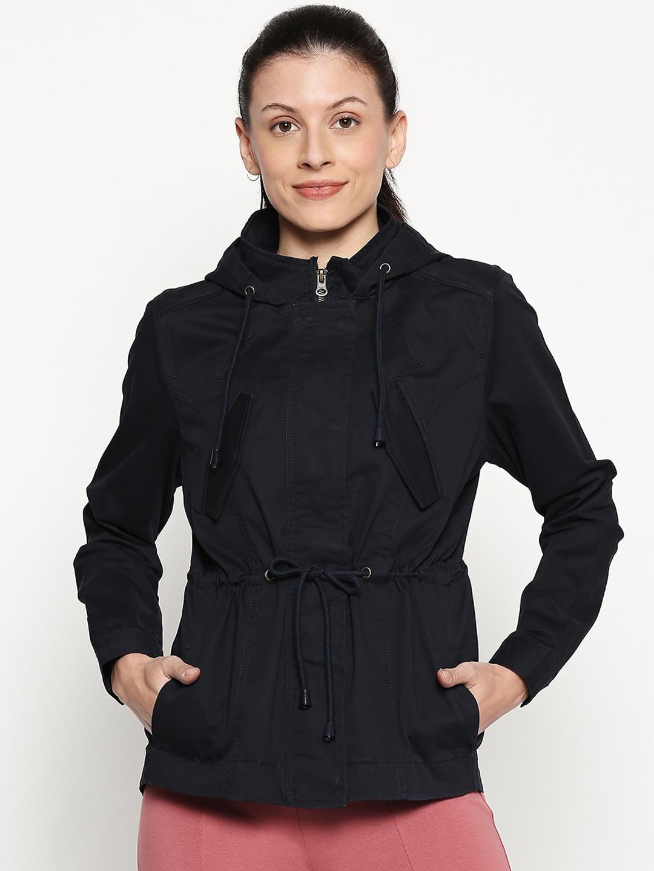 People Women Navy Blue Solid Parka Jacket