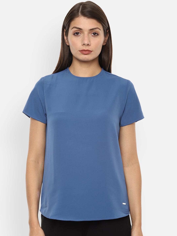 Van Heusen Woman Women Blue Solid Round Neck T shirt