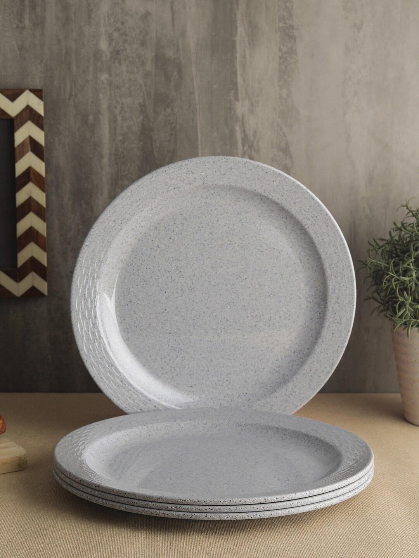 Servewell Grey Printed Set of 4 Dinner Plates