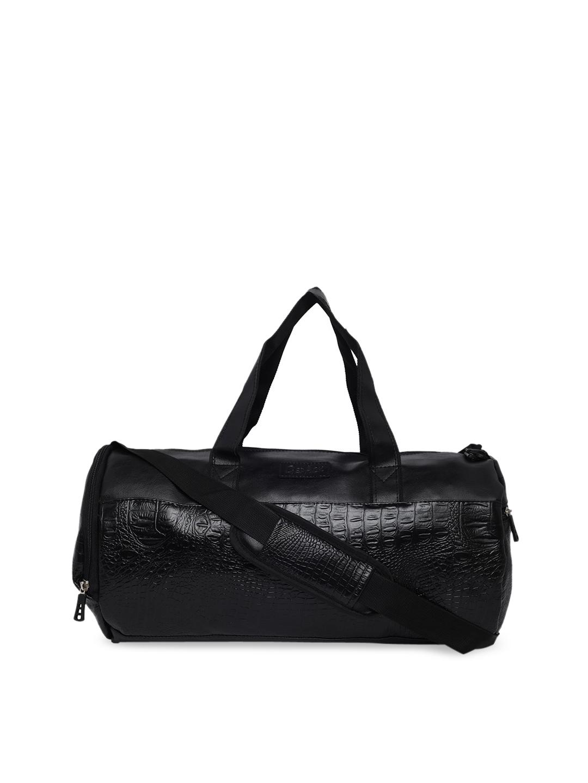 GEPACK Men Black Textured Duffel Travel Bag