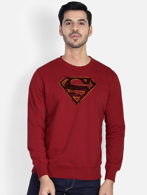 Free Authority Men Red Superman Print Sweatshirt