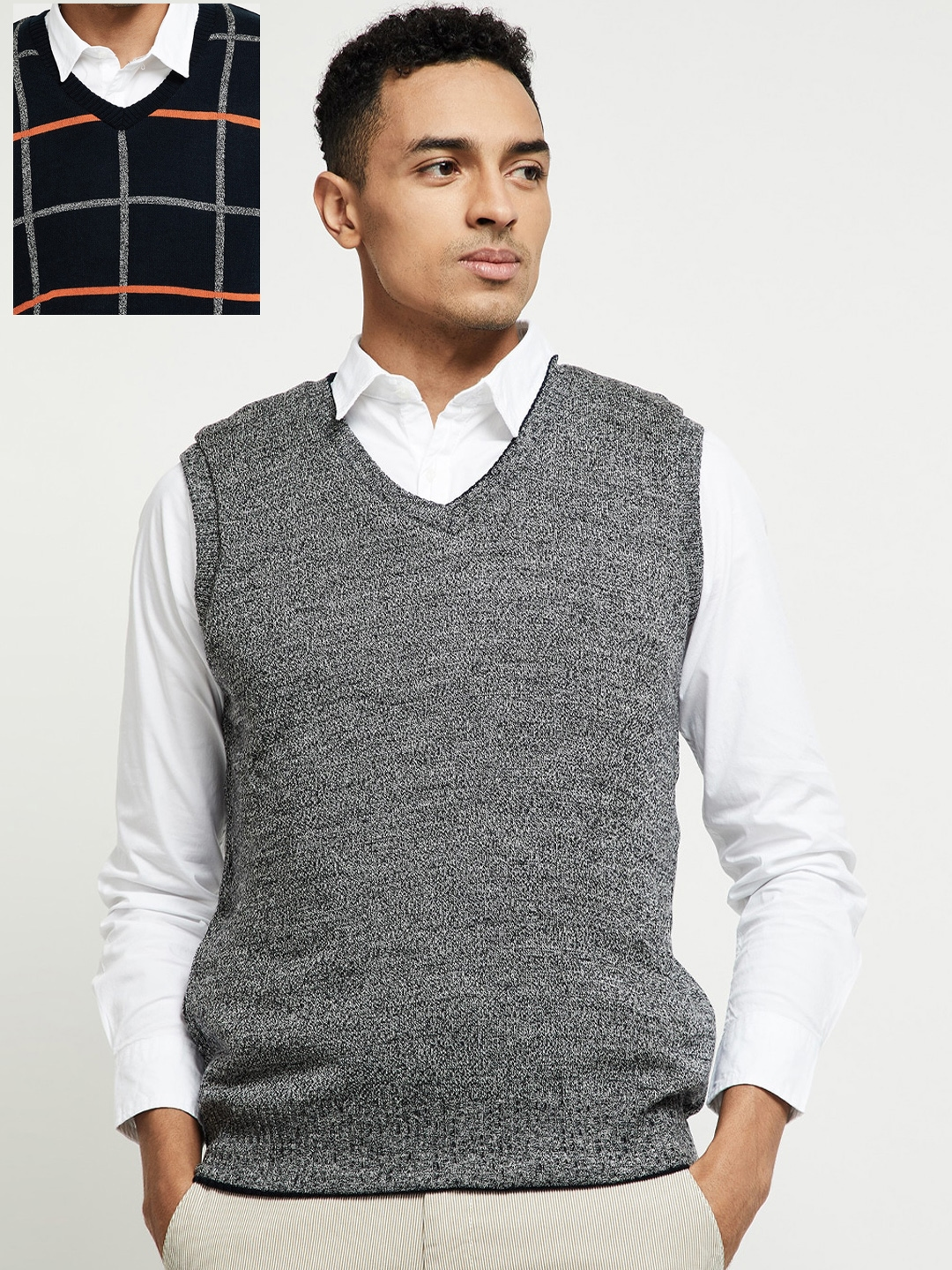 max Men Navy Blue   Grey Checked Reversible Sweater Vest