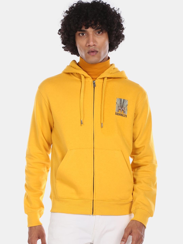 Aeropostale Men Yellow Solid Hooded Sweatshirt