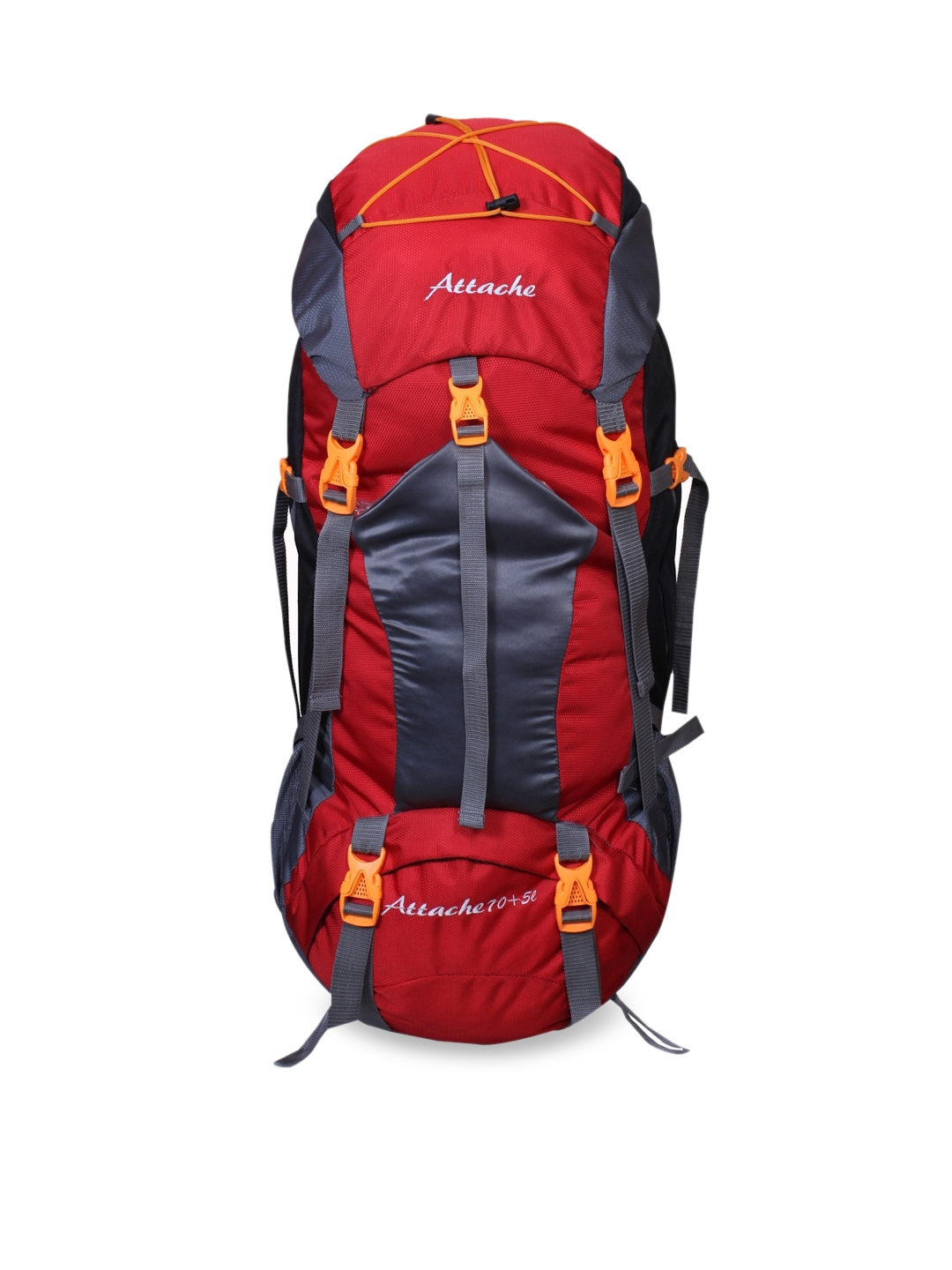 ATTACHE Unisex Red   Grey Brand Logo Hiking Backpack 75Lts With Rain Cover Rucksack