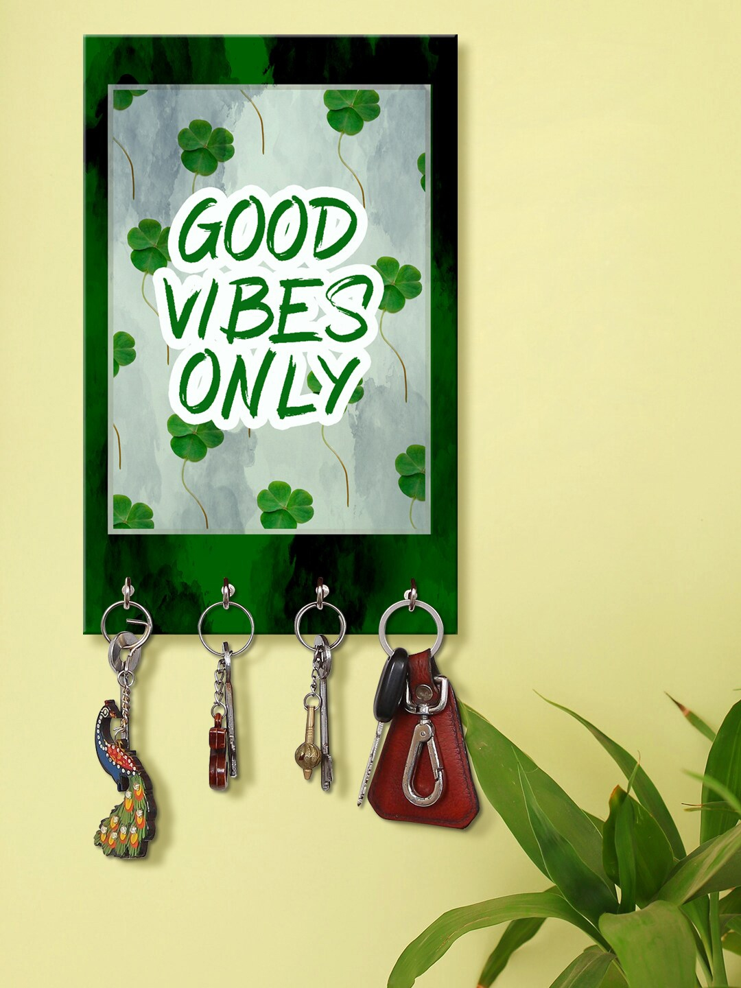 999Store Green Good Vibes Only Wooden Keyholder With 4 Hooks