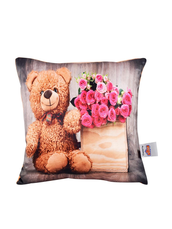 Ultra Brown   Pink Charming Teddy Bear   Rose Print Cushion Plush Soft Toy