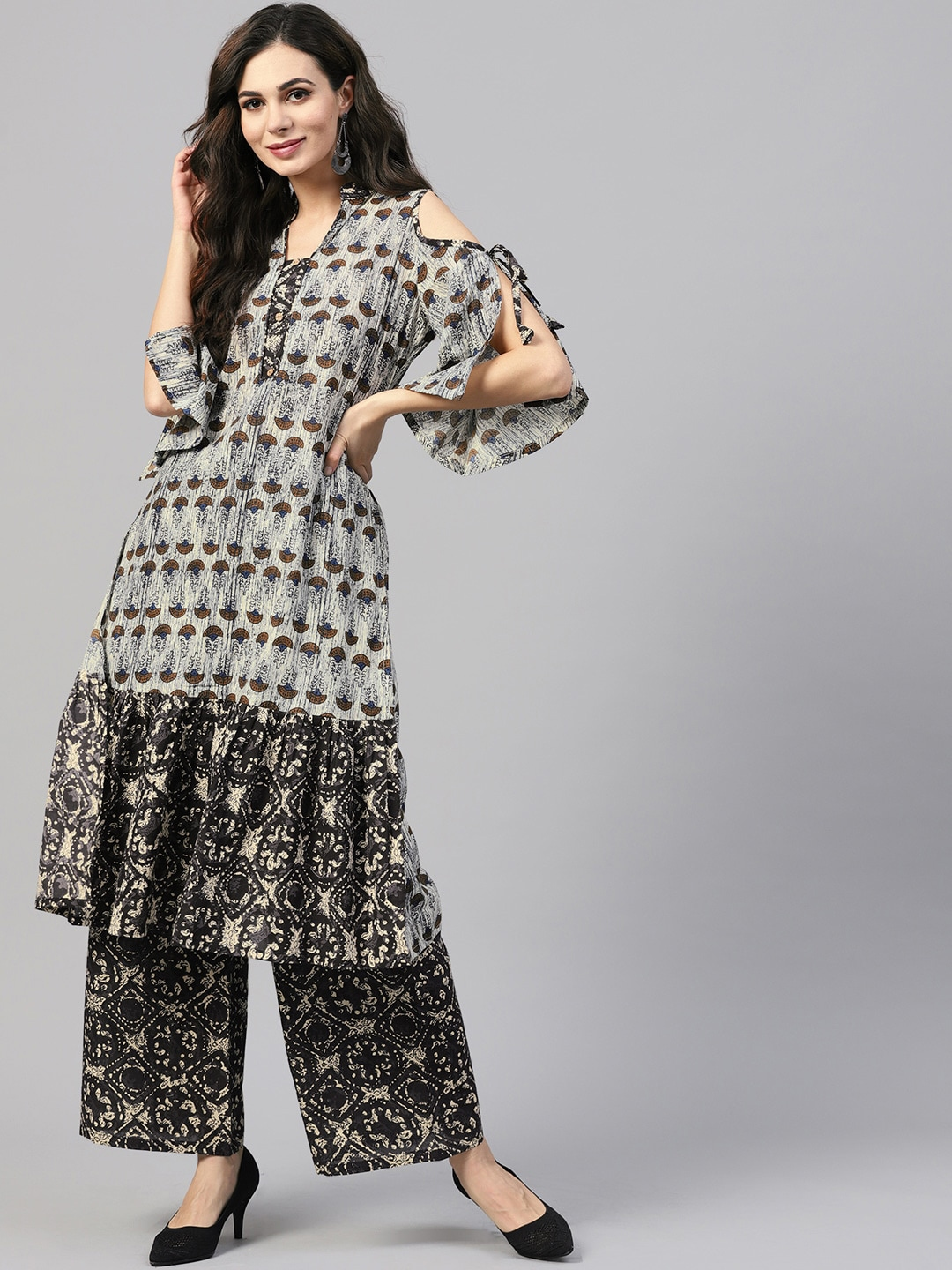 ZOEYAMS Women Grey Printed Anarkali Kurta