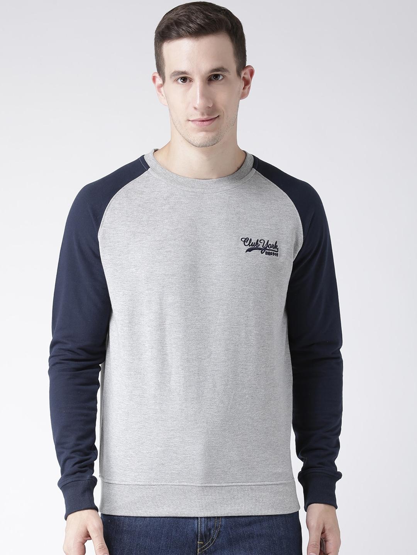 Club York Men Grey   Blue Colourblocked Sweatshirt