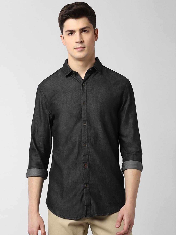 Peter England Casuals Men Black Slim Fit Solid Casual Shirt