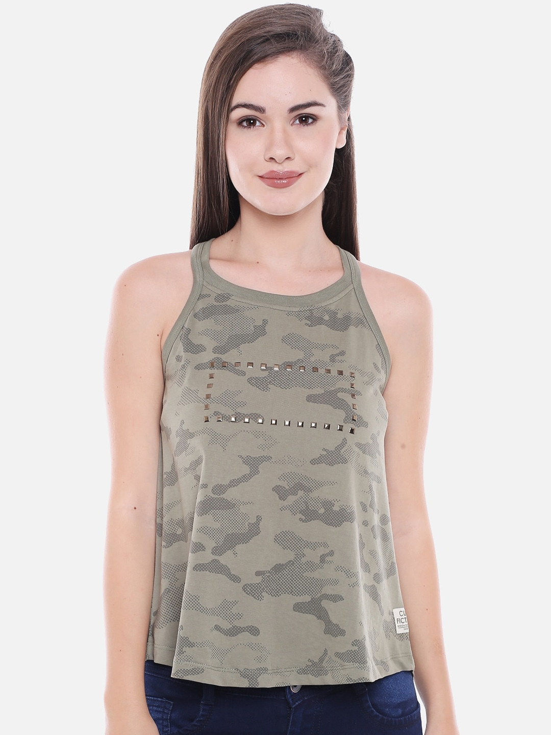 CULT FICTION Women Olive Green Printed Round Neck T shirt