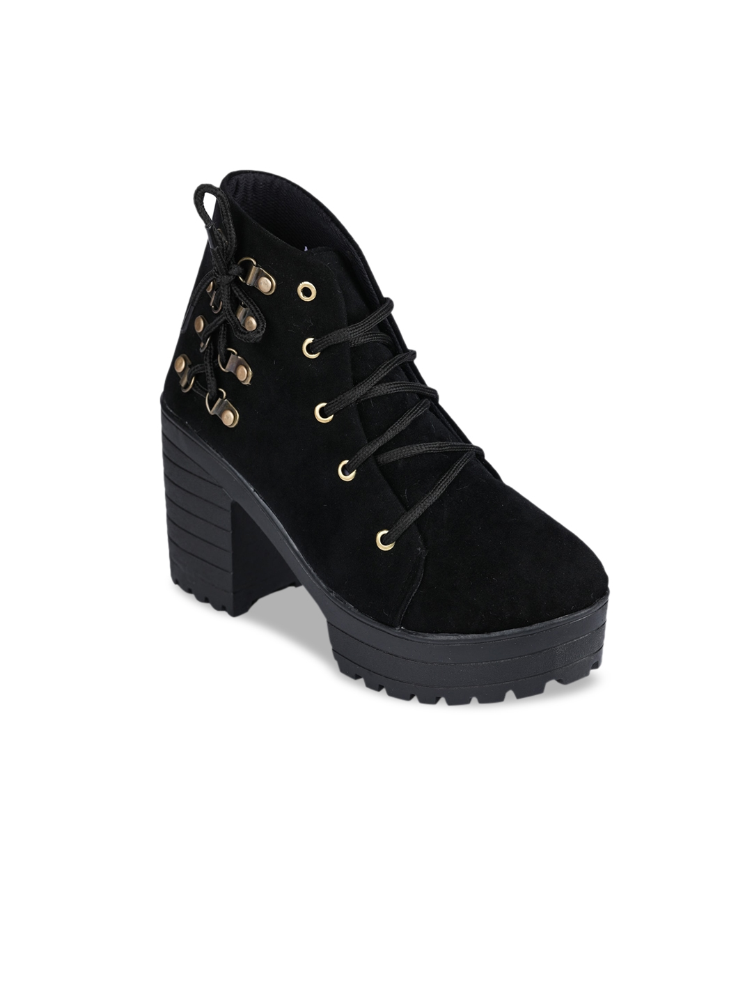 Funku Fashion Women Black Solid Suede Mid Top Heeled Boots