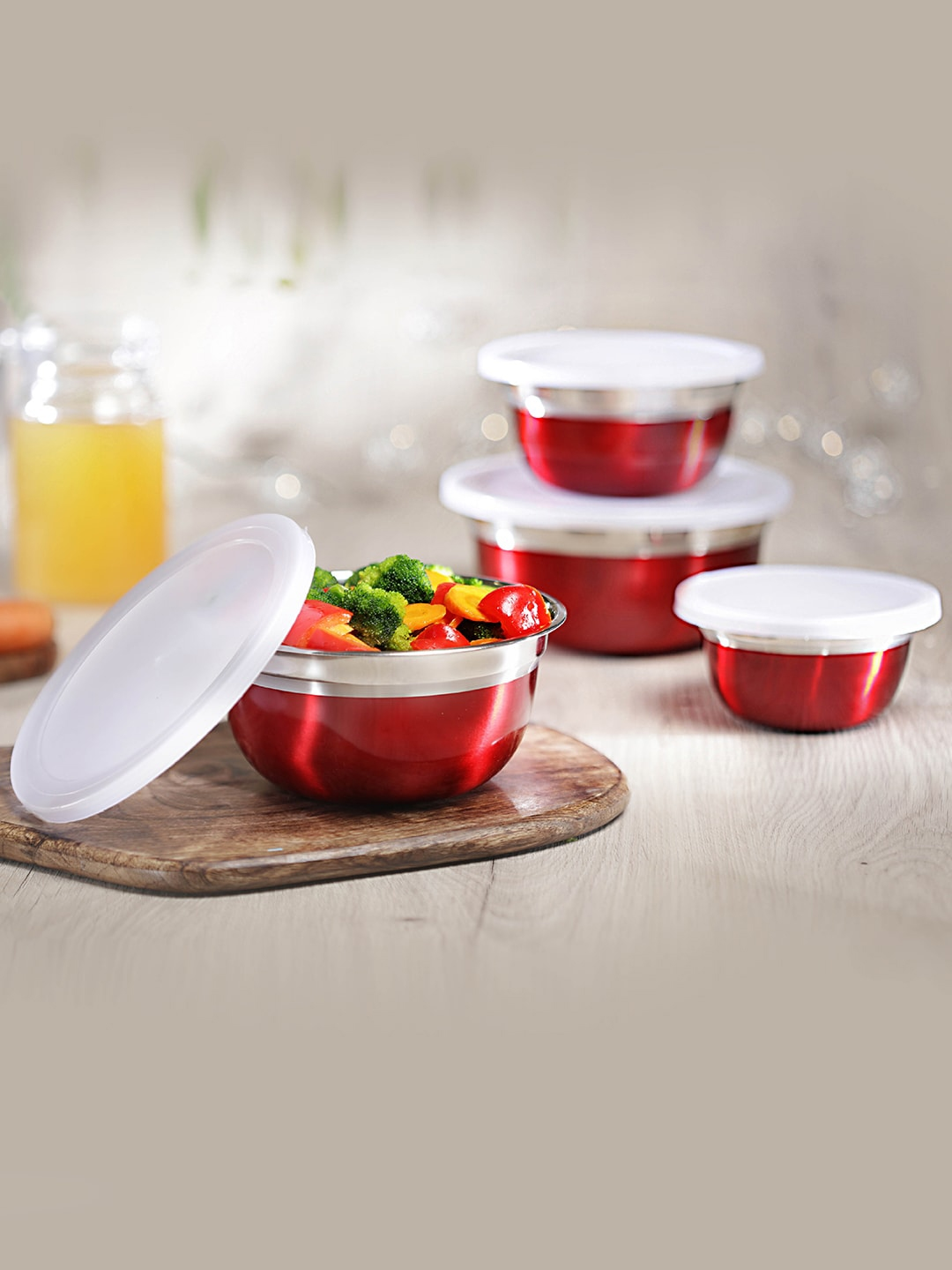 Jensons Set Of 4 Red   Silver Toned Stainless Steel Fiesta Bowl With Led